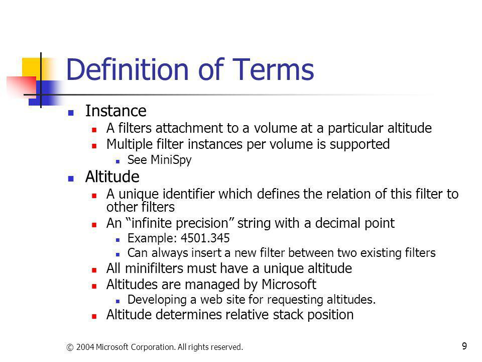 Definition of Terms Instance Altitude