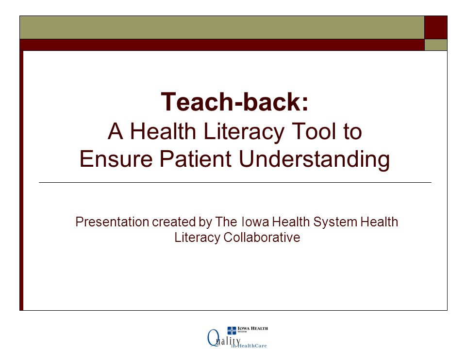 Teach-back: A Health Literacy Tool to Ensure Patient Understanding