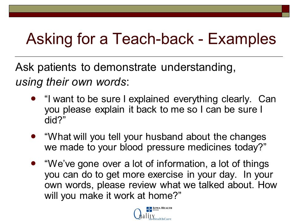 Asking for a Teach-back - Examples