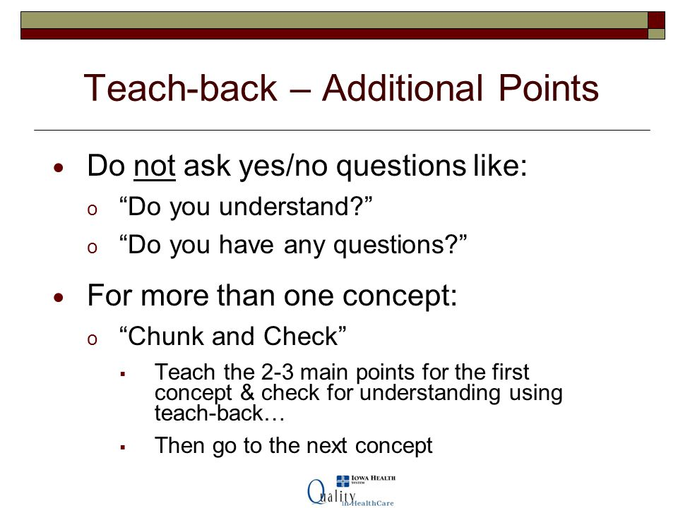 Teach-back – Additional Points