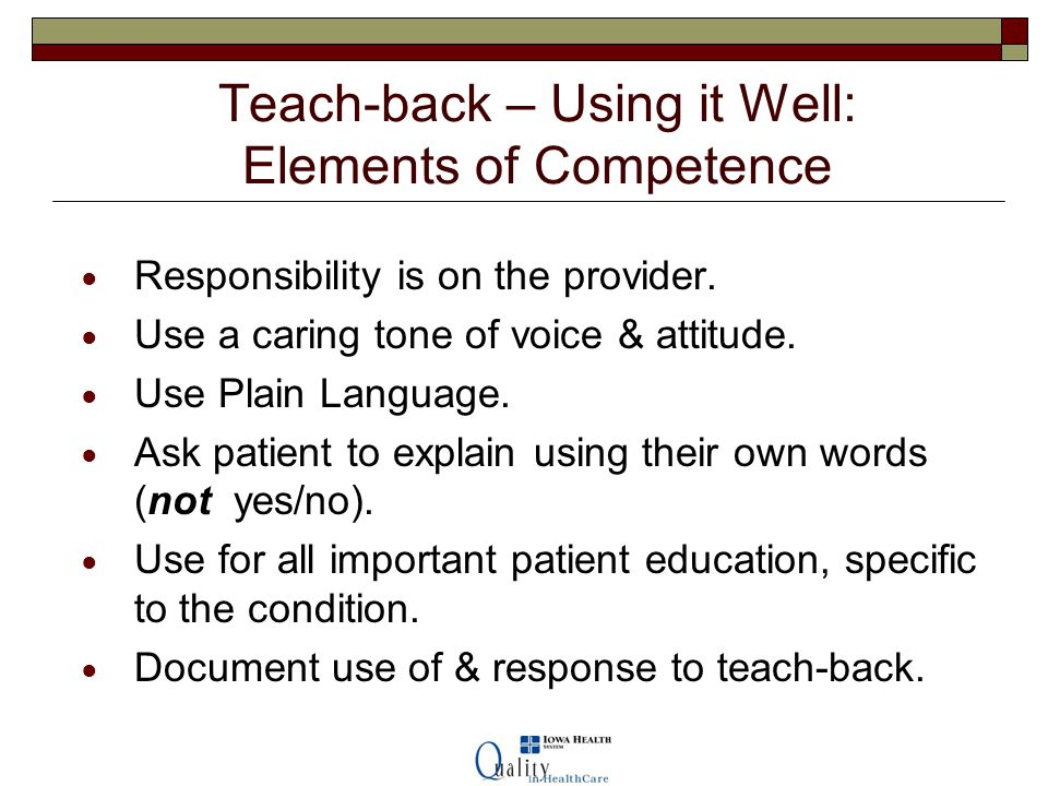 Teach-back – Using it Well: Elements of Competence