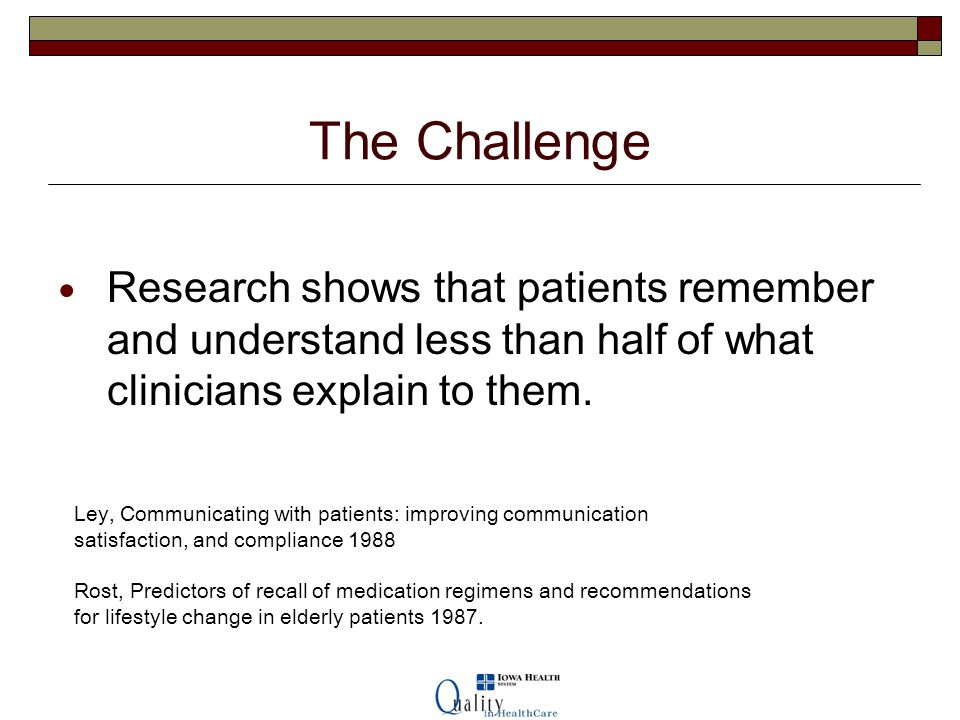 The Challenge Research shows that patients remember and understand less than half of what clinicians explain to them.
