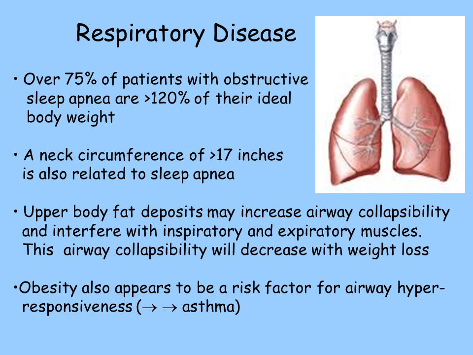 Respiratory Disease Over 75% of patients with obstructive sleep apnea are >120% of their ideal body weight.