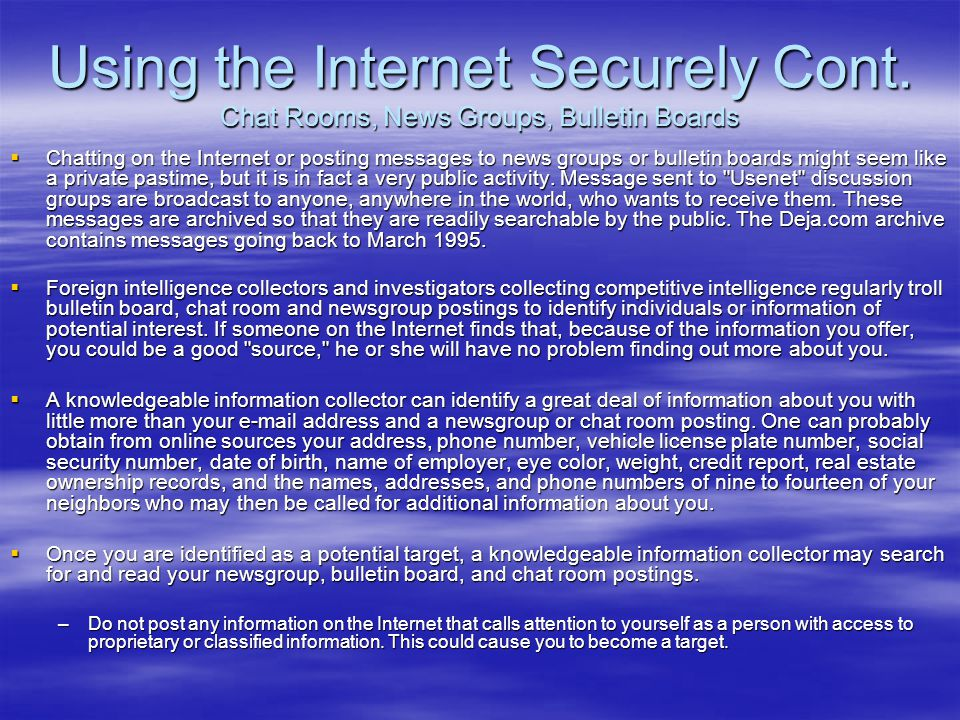 Using the Internet Securely Cont