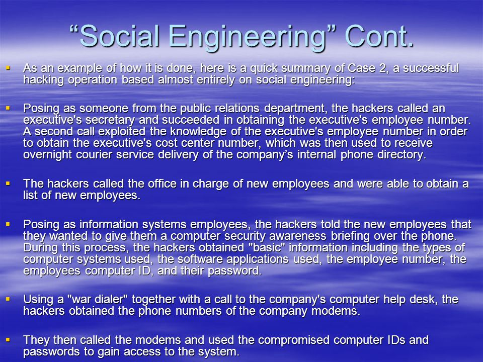 Social Engineering Cont.