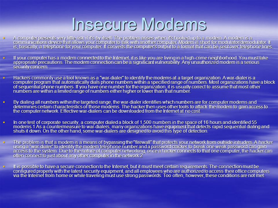 Insecure Modems