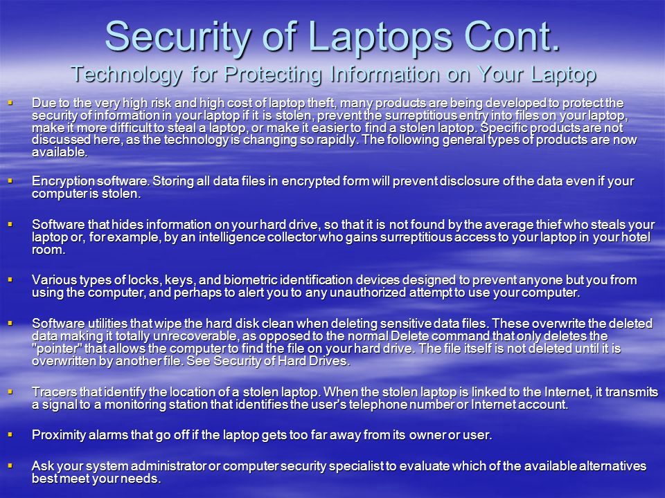 Security of Laptops Cont