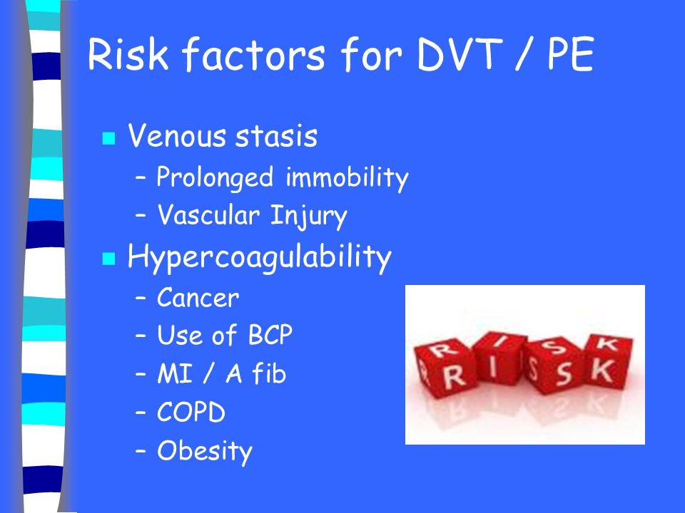 Risk factors for DVT / PE