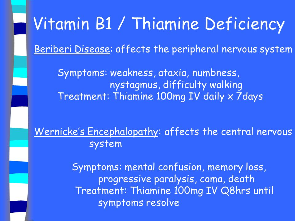 Vitamin B1 / Thiamine Deficiency