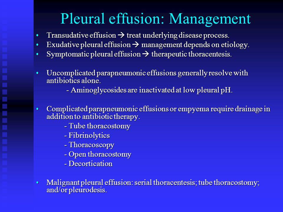 Pleural effusion: Management