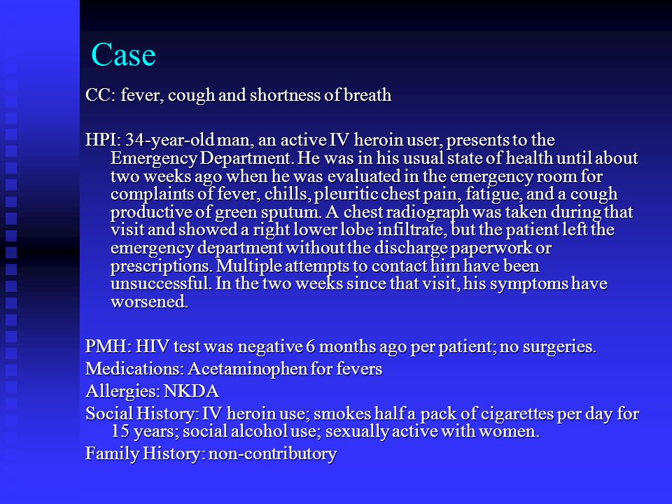 Case CC: fever, cough and shortness of breath