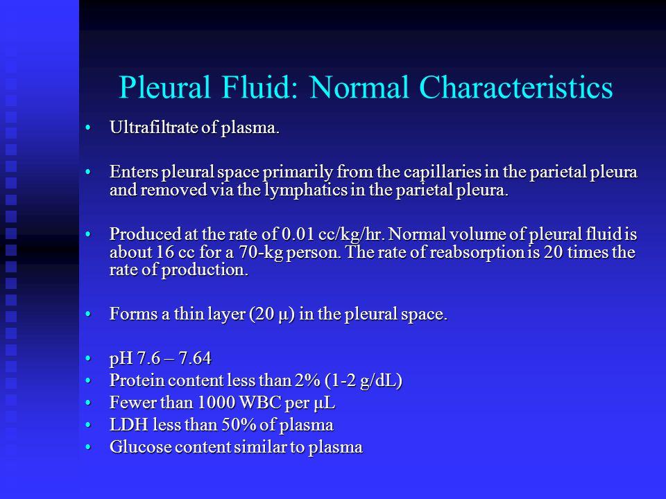 Pleural Fluid: Normal Characteristics