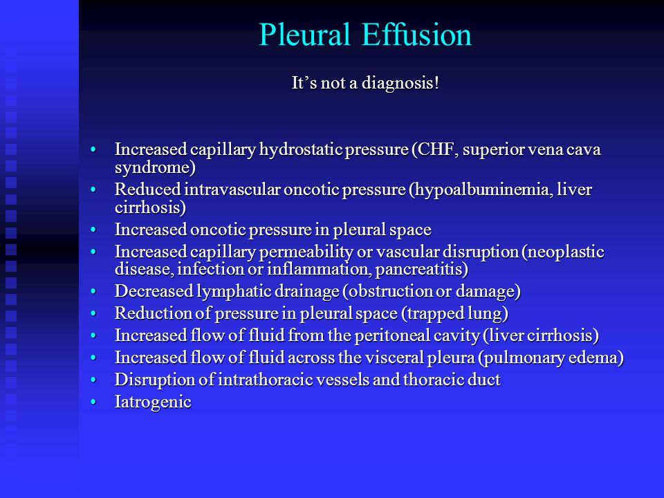 Pleural Effusion It's not a diagnosis!