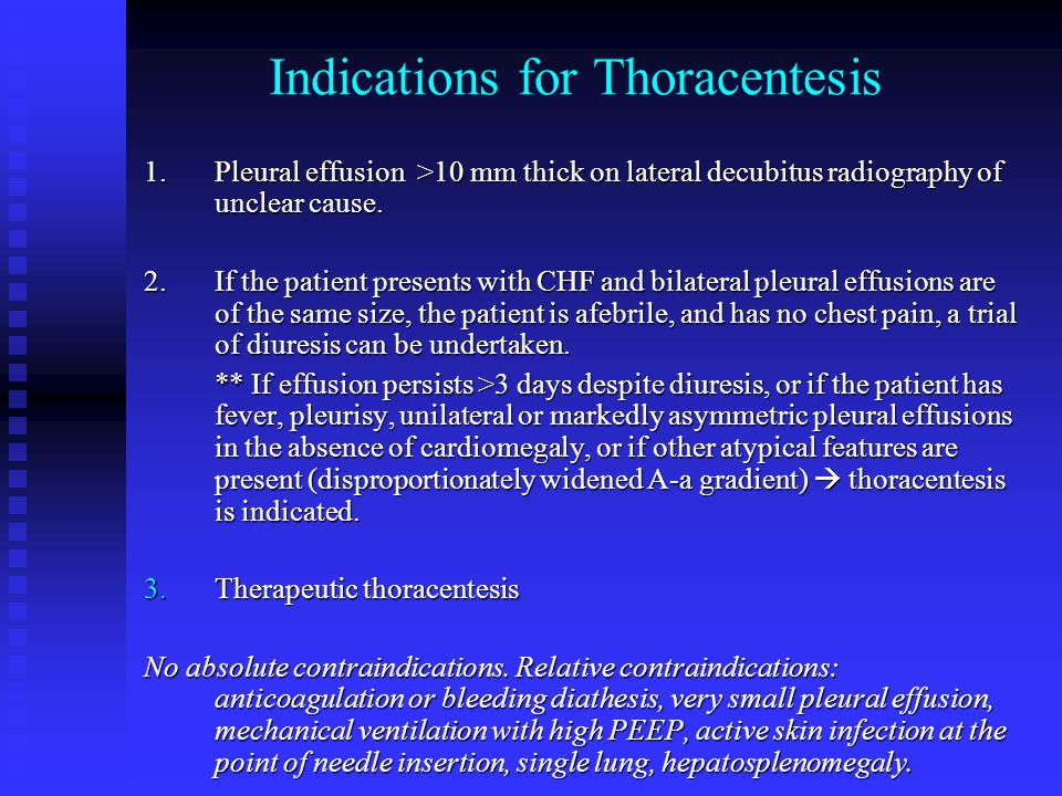 Indications for Thoracentesis