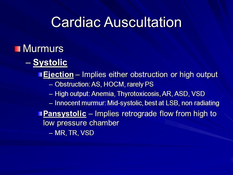Cardiac Auscultation Murmurs Systolic