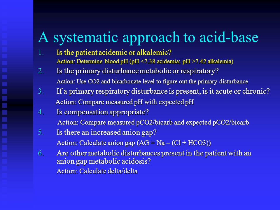 A systematic approach to acid-base
