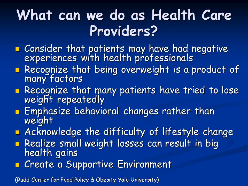 What can we do as Health Care Providers