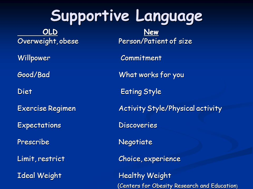 Supportive Language OLD New Overweight, obese Person/Patient of size