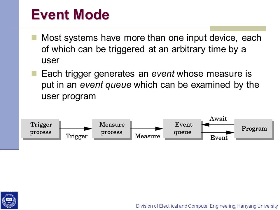 Event Mode Most systems have more than one input device, each of which can be triggered at an arbitrary time by a user.