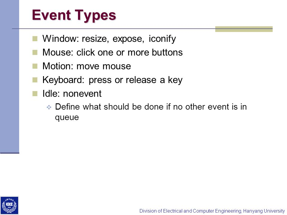 Event Types Window: resize, expose, iconify
