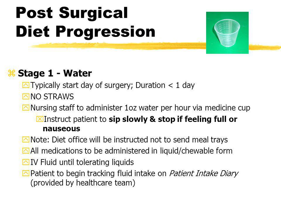 Post Surgical Diet Progression