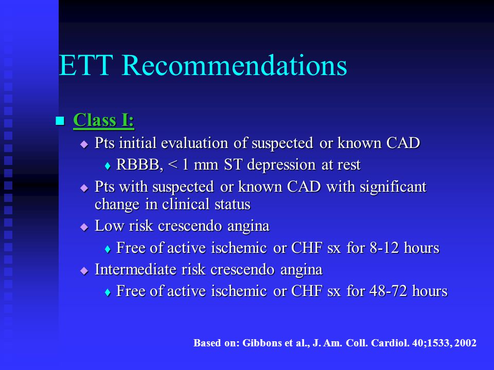 ETT Recommendations Class I:
