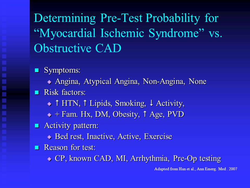 Determining Pre-Test Probability for Myocardial Ischemic Syndrome vs