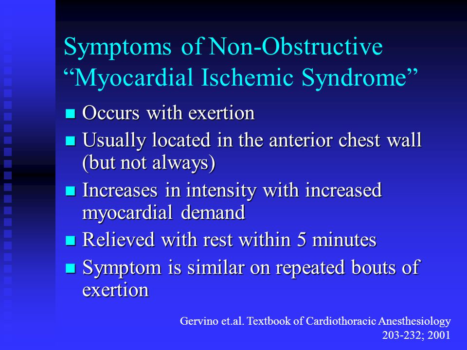 Symptoms of Non-Obstructive Myocardial Ischemic Syndrome