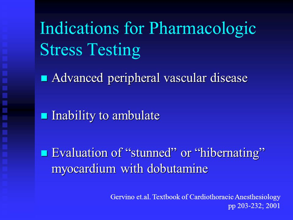 Indications for Pharmacologic Stress Testing