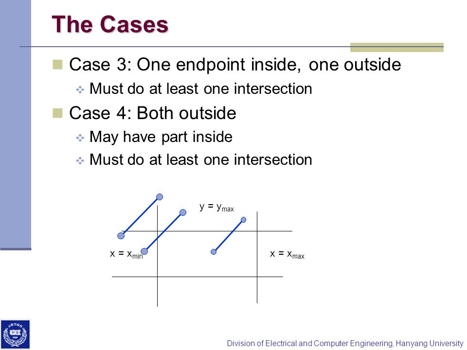 The Cases Case 3: One endpoint inside, one outside