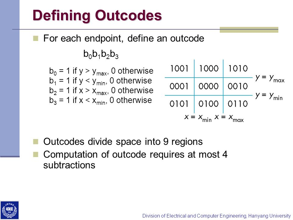 Defining Outcodes For each endpoint, define an outcode b0b1b2b3