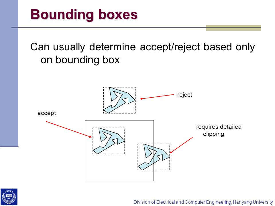 Bounding boxesCan usually determine accept/reject based only on bounding box. reject. accept. requires detailed.