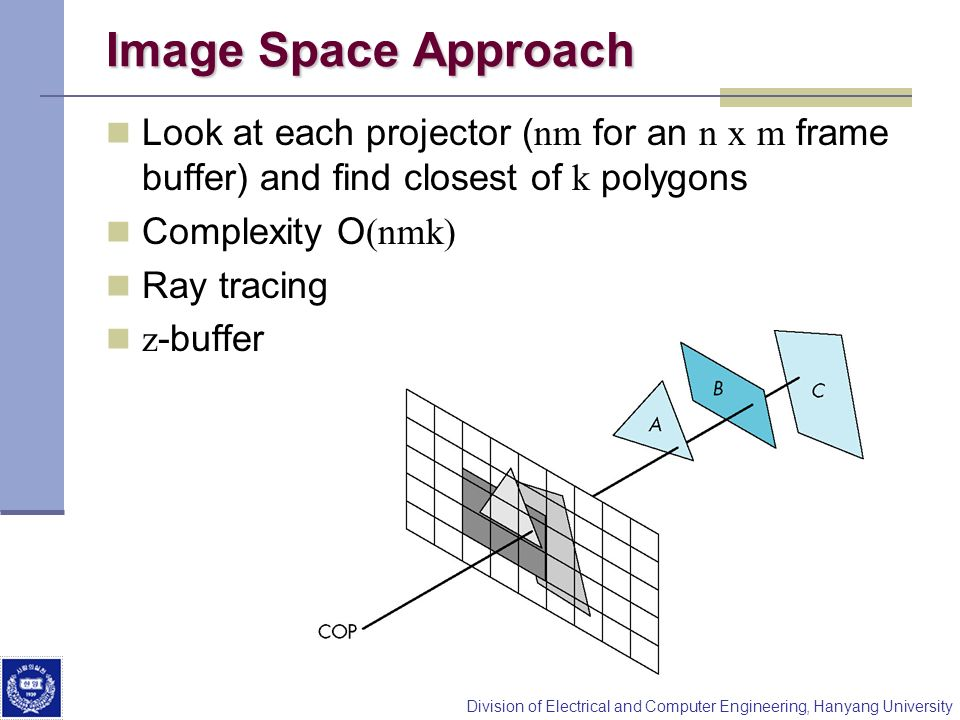 Image Space Approach Look at each projector (nm for an n x m frame buffer) and find closest of k polygons.