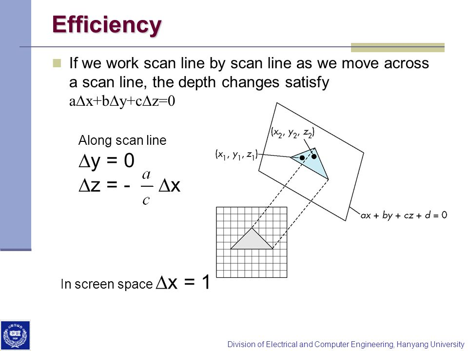 Efficiency If we work scan line by scan line as we move across a scan line, the depth changes satisfy ax+by+cz=0.