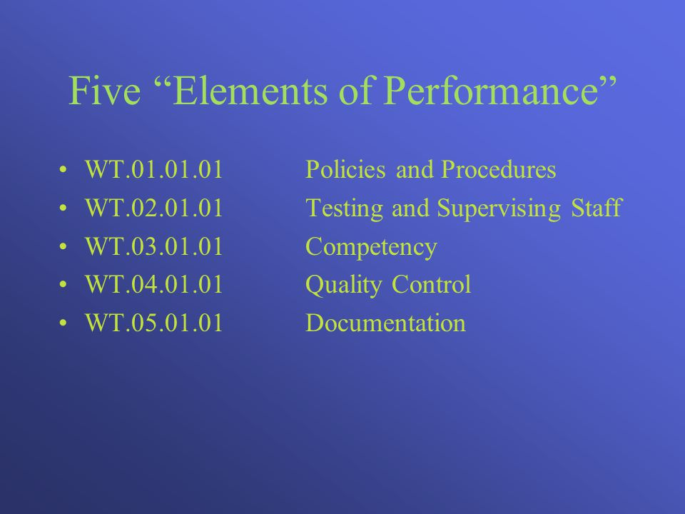 Five Elements of Performance