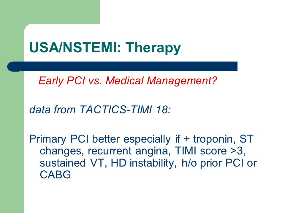 USA/NSTEMI: Therapy Early PCI vs. Medical Management