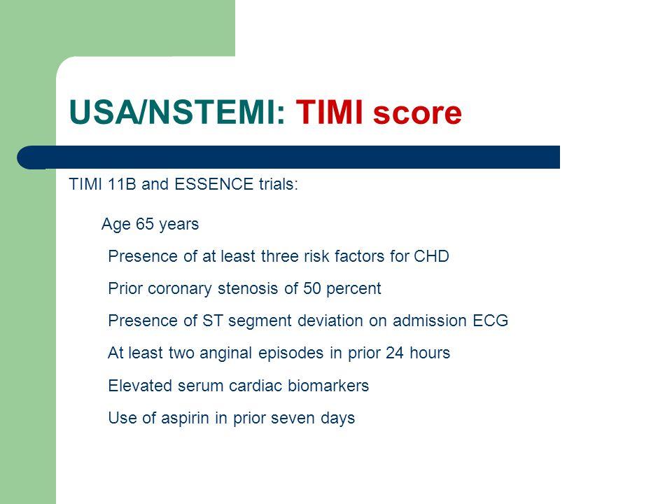 USA/NSTEMI: TIMI score
