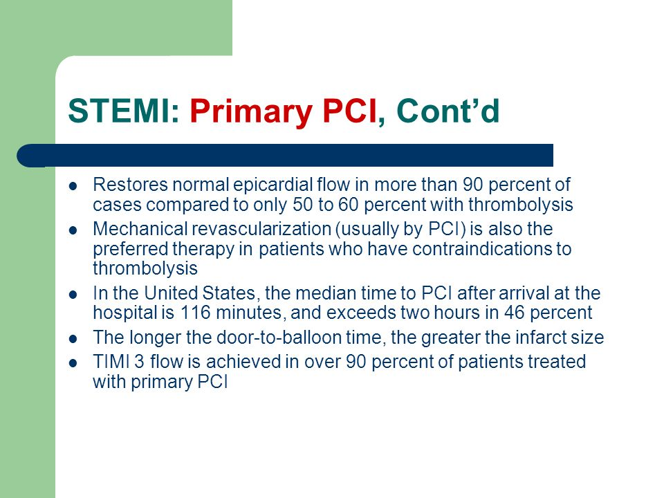 STEMI: Primary PCI, Cont'd