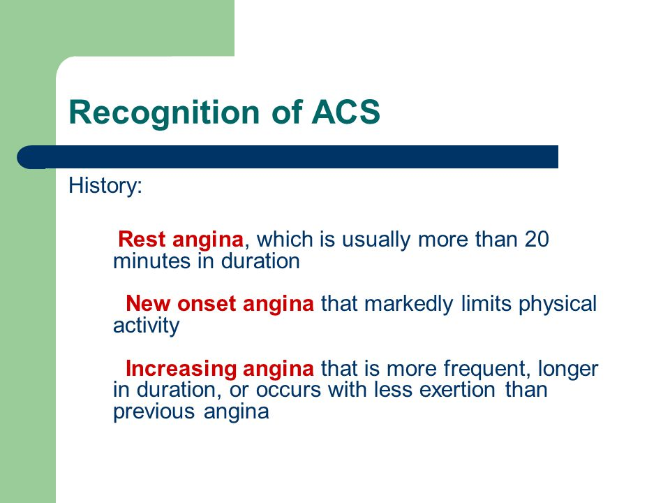 Recognition of ACS History: