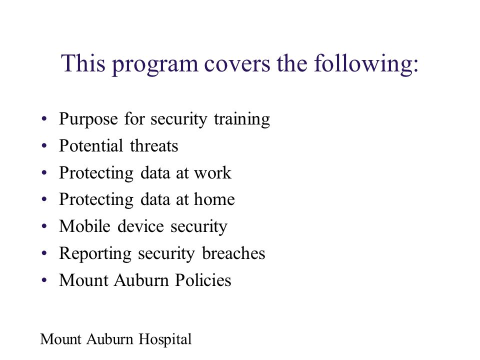 This program covers the following: