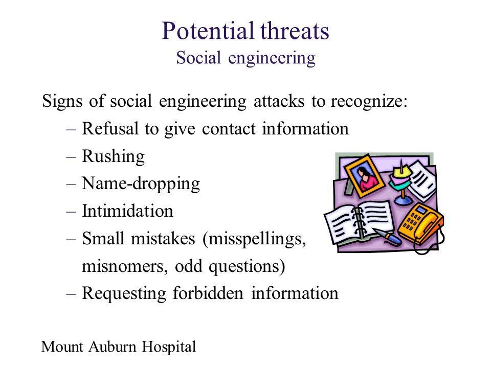 Potential threats Social engineering