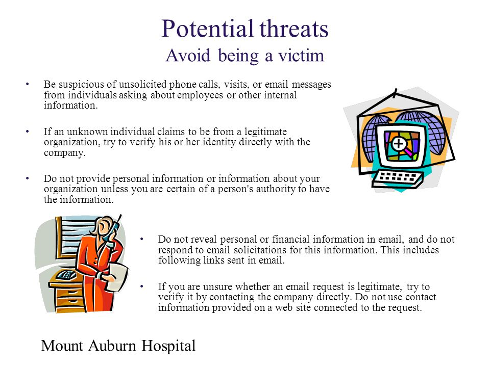 Potential threats Avoid being a victim