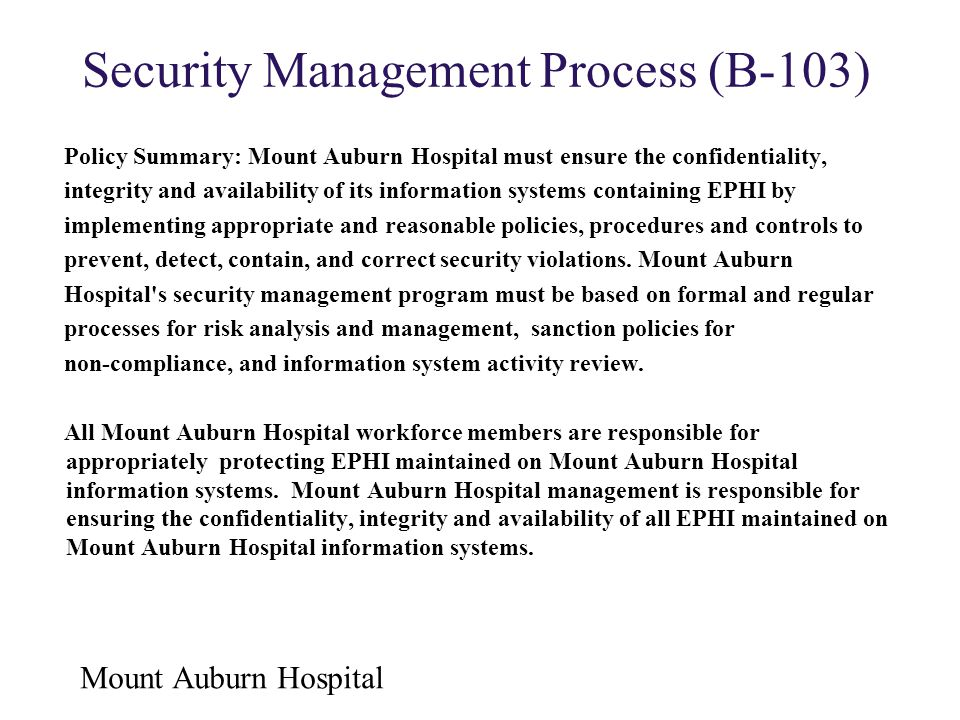 Security Management Process (B-103)