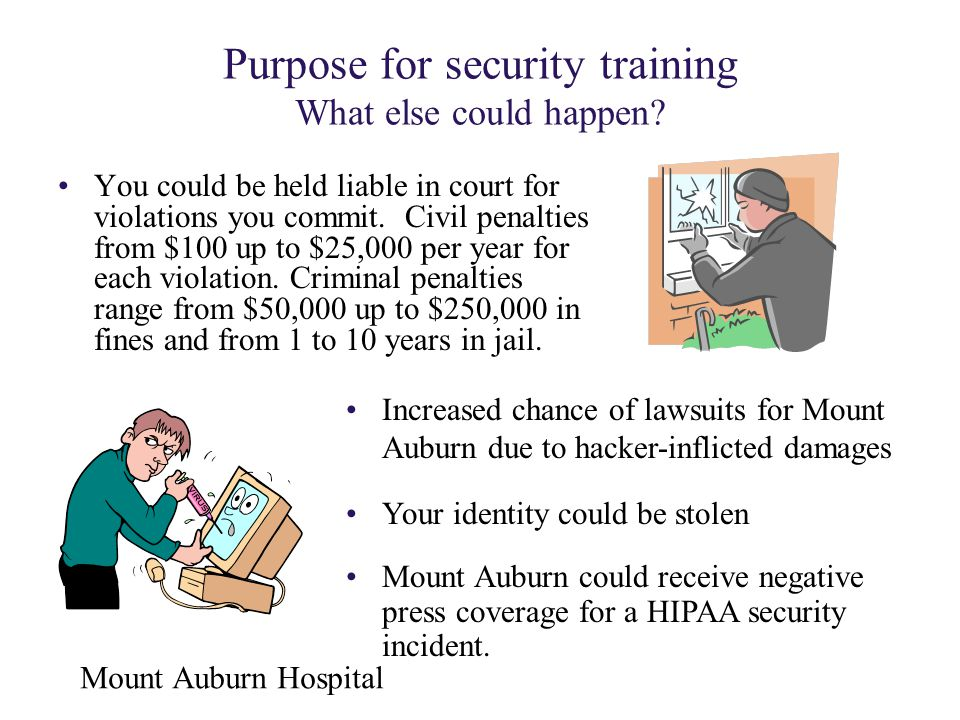 Purpose for security training What else could happen