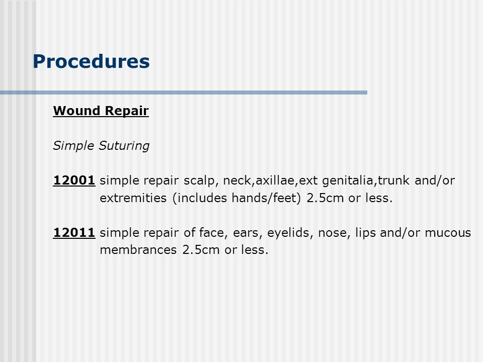 Procedures Wound Repair Simple Suturing