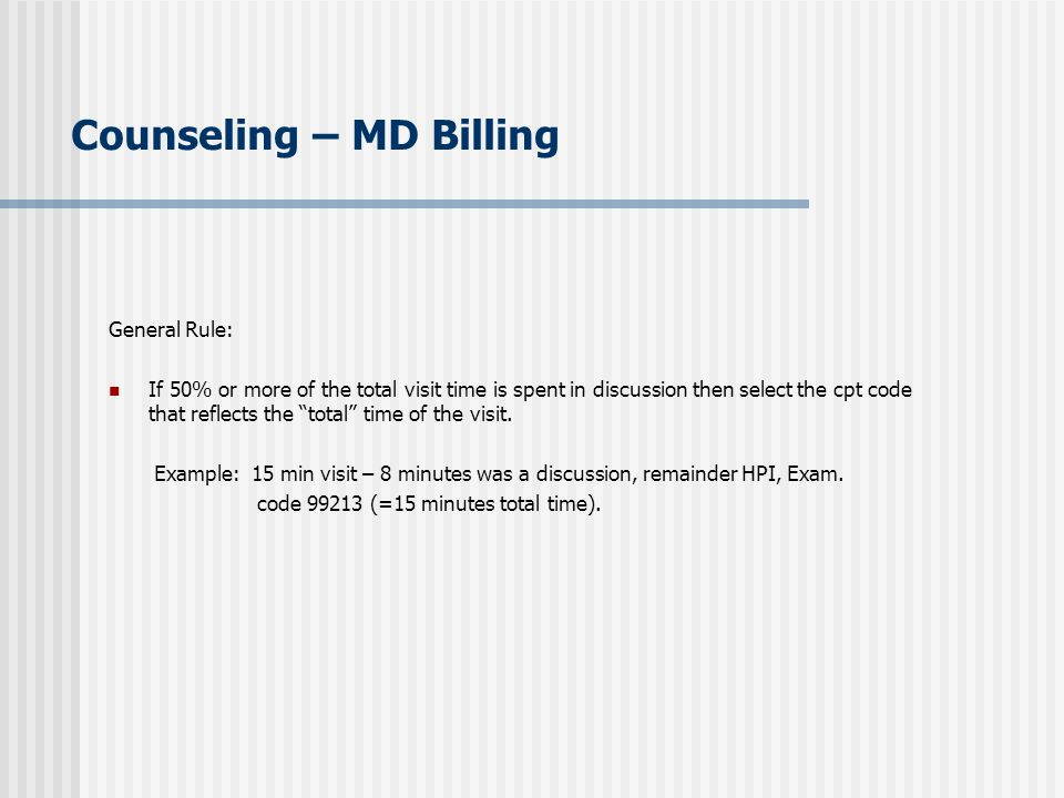 Counseling – MD Billing