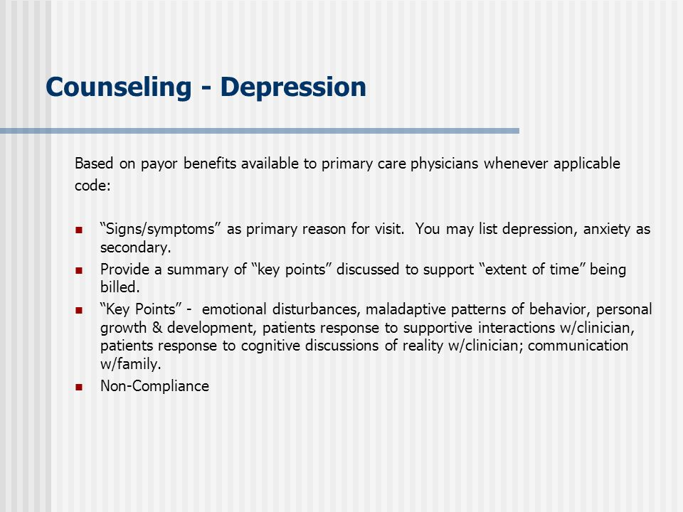 Counseling - Depression