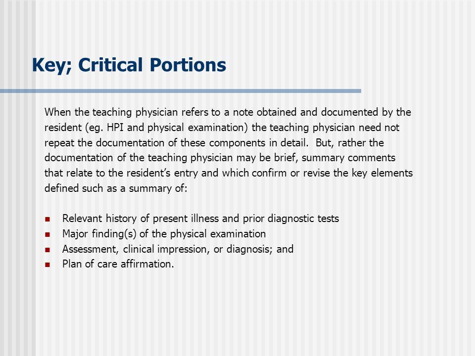 Key; Critical Portions