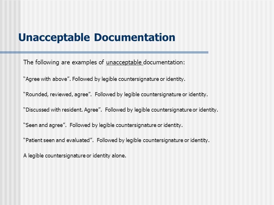 Unacceptable Documentation
