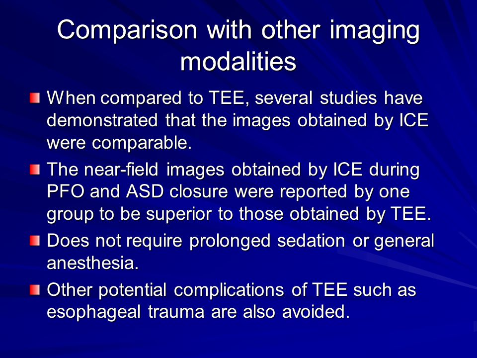 Comparison with other imaging modalities